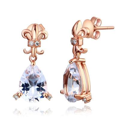 Cercei Borealy Aur Roz 14 K Topaz Natural Pear 3.5 Ct 8 Diamante foto
