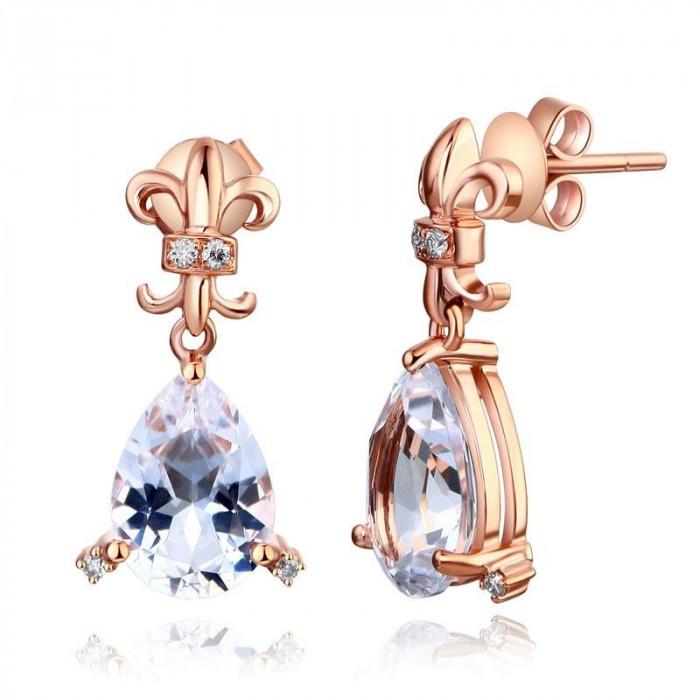 Cercei Borealy Aur Roz 14 K Topaz Natural Pear 3.5 Ct 8 Diamante