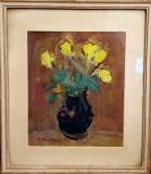 Tablou, Gheorghe Juster, - Flori galbene - ulei pe carton, 31,5 x 26,5 cm, semnat stanga jos