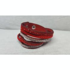 Bratara din material textil cu pietre din plastic tip cristale, rosie