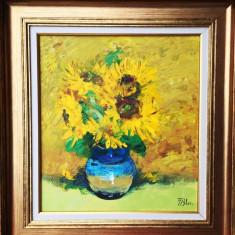 Nicolae Blei - Floarea soarelui , ulei pe pinza 45 x 50 cm, Flori, Altul