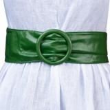 Curea verde din piele ecologica cu latime de 7 cm, catarama rotunda