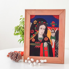 Fecioara Indurerată( Nicula , prima jumatate sec. XIX )-Icoană pictată pe sticlă