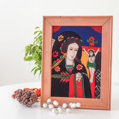 Fecioara Indurerată( Nicula , prima jumatate sec. XIX )-Icoană pictată pe sticlă foto