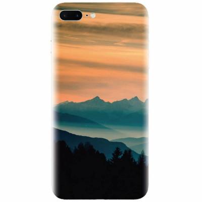 Husa silicon pentru Apple Iphone 7 Plus, Blue Mountains Orange Clouds Sunset Landscape foto