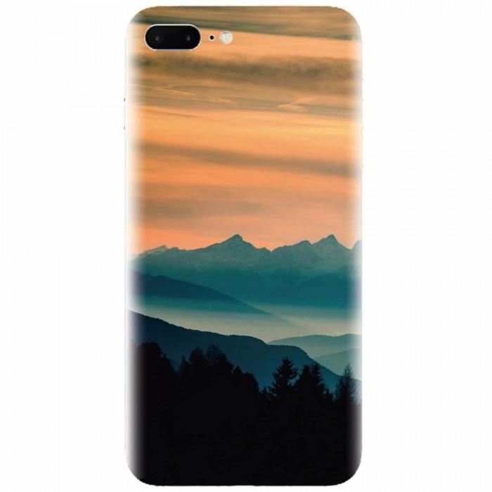 Husa silicon pentru Apple Iphone 7 Plus, Blue Mountains Orange Clouds Sunset Landscape