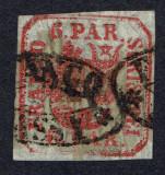 Romania 1862 - Principatele Unite,6 parale visiniu,Lp.9b, Stampilat
