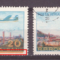 1956 - Posta aeriana val 20bani eroare culoare deplasata