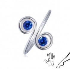 Inel argint pentru mână sau picior - două cristale albastre de zirconiu în spirale