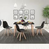VidaXL Set cu masă și scaune de bucătărie, cinci piese, negru