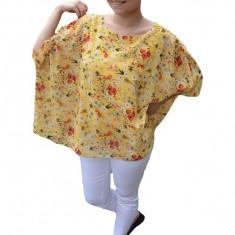 Bluza casual Vivien cu imprimeu camp flower pe fond galben