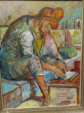 Pictura - Scrisoarea - semnat S . Mutzner, Portrete, Ulei, Impresionism