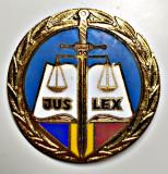JUSTITIE INSIGNA EMAILATA JUS LEX PENTRU JUDECATOR LA JUDECATORIE 50 MM