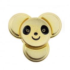 Fidget Spinner Metalic cu Fata Panda - Auriu