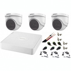 Sistem supraveghere interior audio-video Hikvision 3 camere Turbo HD 2MP DVR 4 canale SafetyGuard Surveillance