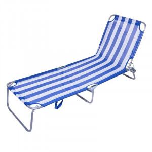 Sezlong pentru plaja, 188 x 55 x 24 cm, model dungi