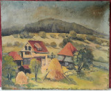 Casa la tara, pictura veche in ulei pe panza (2)