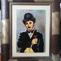 Art Georgies Tablou Charlie Chaplin sticla fuzionata inramat 55x69cm