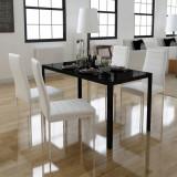 VidaXL Set masă și scaune de bucătărie, cinci piese, negru