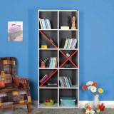 Cumpara ieftin Biblioteca Adore Extra, 10 rafturi, Alb/Rosu, 75x188x30 Cm