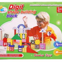 Joc constructiv din cuburi de lemn - construieste-ti propriul castel ! Jucarie creativ educativa