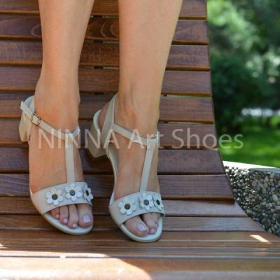Sandale dama crem, din piele naturala toc 6cm - NAA58CREM foto