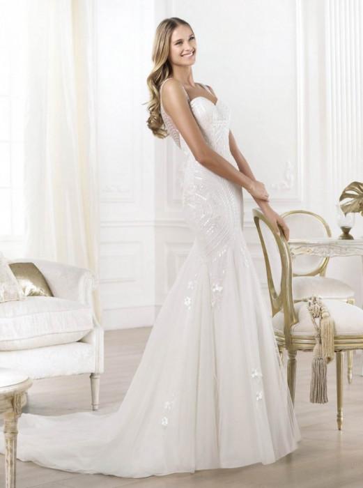 Pronovias Lagara 2014 rochie de mireasa originala (crinolina si voal inclus)