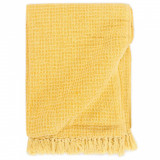 Pătură decorativă, galben muștar, 125 x 150 cm, bumbac