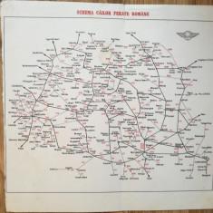 Hartă Schema Căilor Ferate Române, anii 60