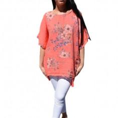 Bluza casual ,asimetrica, cu design de buzunare nuanta de corai