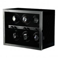 Cutie pentru intors ceasuri automatice iUni, Luxury Watch Winder 6 Negru