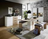 Set de mobila dining din pal si MDF, 7 piese Madeline Alb / Stejar