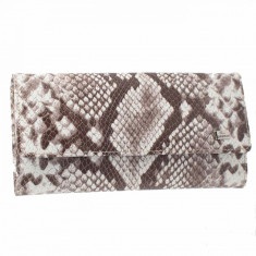 Portofel dama, din piele naturala, Desisan, 150-18-H7-26, maro print