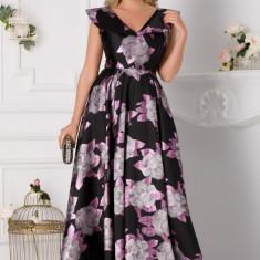 Rochie Luxury neagra lunga cu imprimeu floral lila si lurex
