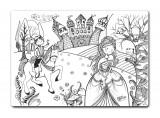 Plansa pentru colorat, reutilizabila, printul si printesa, silicon, 48 X 335 cm
