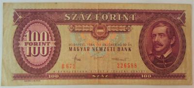 Bancnota 100 FORINTI - UNGARIA, anul 1984 *cod 219 foto