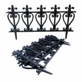 Gard de gradina decorativ, plastic negru, set 4 buc,57x32.5 cm, Strend Pro
