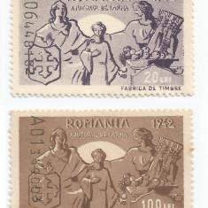 România, lot 212 cu 2 timbre fiscale de ajutor, Consiliul de Patronaj, 1942, MNH