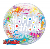 "Balon Bubble 22""/56 cm, Happy Birthday Lid Candles, Qualatex 16658"