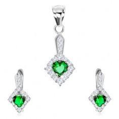 Set din argint 925, pandantiv şi cercei, zirconiu în formă de inimă, romb transparent