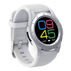 Ceas Smartwatch Techstar® DT No.1 G8, MTK2502, Bluetooth 4.0, SIM, Notificari, Monitorizare Puls, Culoare Alb
