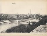 Litografie mare panorama Sena Paris anii 1920 interbelica