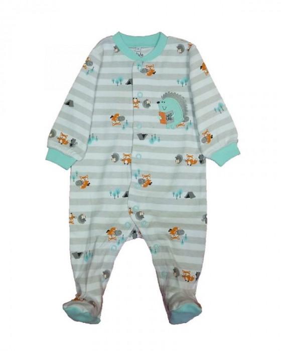 Salopeta / Pijama bebe cu dungi si arici Z80