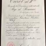 Brevet pentru Medalia Răsplata muncii - Lct.-Colonel: Râmboru Niculae din 1937