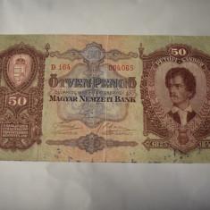 Bancnota Ungaria - 50 Pengo 1932 - Petofi Sandor