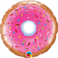 Balon Mini Folie Donut, 23 cm, umflat + bat si rozeta, Qualatex 58455