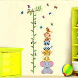 Sticker de perete copii Grafic de crestere cu animale si fluturi masurator inaltime