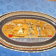332-Splendid platou mare decorativ vechi Egipt.