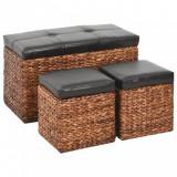 Banchetă cu 2 taburete, iarbă de mare, maro și negru, vidaXL