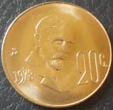 Moneda EXOTICA 20 CENTAVOS - MEXIC, anul 1978   *cod 924 B = UNC
